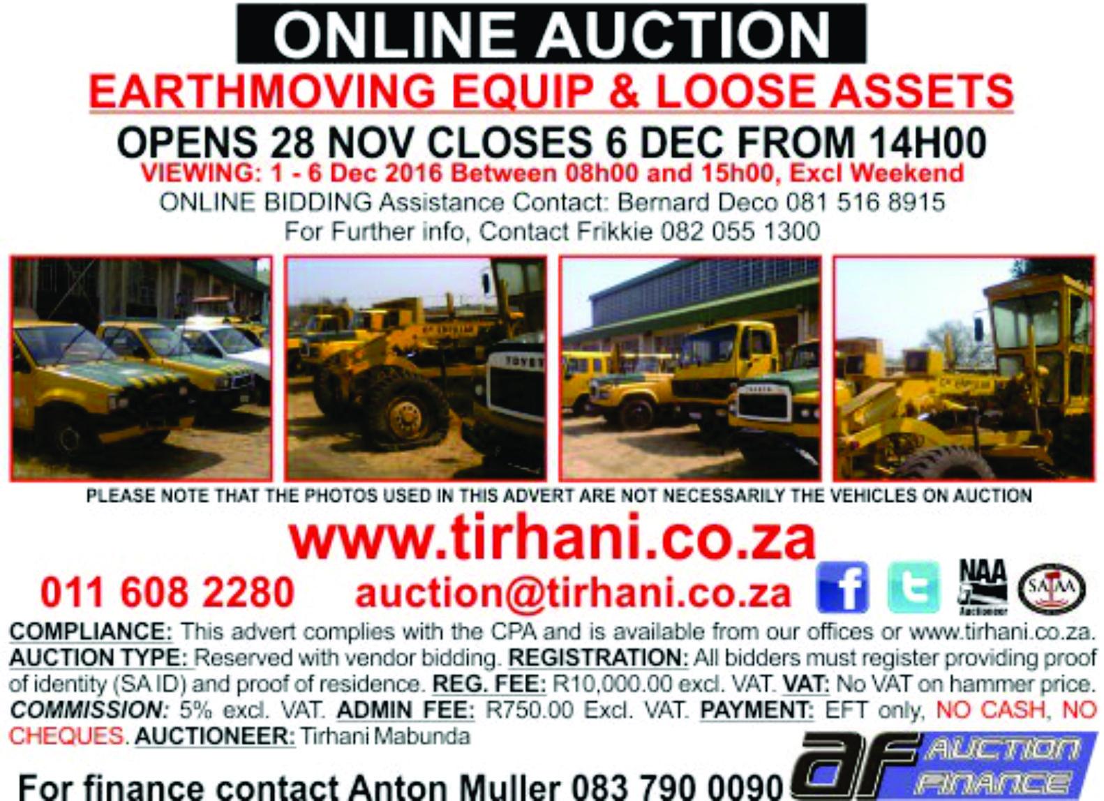Online Auction Dept Roads & Transport -Earthmoving & Loose Assets